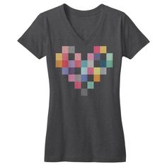 Patchwork Heart V-Neck - Dark Grey