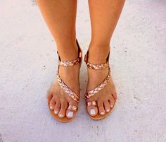 gold pink sandals greek handmade flat sandals strappy sandals wedding sandals gladietor sandals handmade braided toe ring sandals by aeliasandals on Etsy