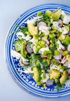 Avocado Salad with Radishes, Mozzarella and a Creamy Mint Dressing
