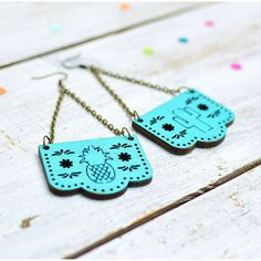 Onetenzeroseven Papel Picado Mexican Bunting Earrings ($16) ❤ liked on Polyvore featuring jewelry, earrings and earring jewelry