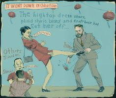 #ReganDunnick #illustration of what went down in #Chinatown. #humorous #smackdown