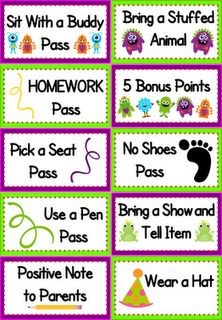 "positive reinforcement (no treasure box!)  I do something like this in my classroom and it is AMAZING how motivated the kids are to earn the ""coupons"" from ""Mrs. Fuller's Coupon Box.""  Top pick by 2nd graders, ""lunch with the teacher.""  Just a warning, if you don't want to eat lunch with your students a couple times a week, don't give that as an option!  haha."