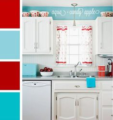 Turquoise and red kitchen scheme (add yellow, and a little brown) Like the turquoise about the cabinets!!