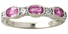 ApplesofGold.com - 14K White Gold Pink Sapphire and Diamond Ring Gemstone Jewelry $489.00