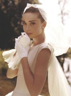Audrey Hepburn in the famous wedding dress by Givenchy lulawed.com #vintage #famous #wedding