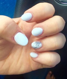 White nails with silver snowflakes #winternails #whitenails #christmasnails