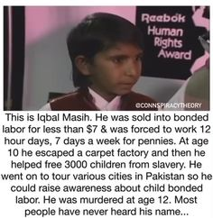 Iqbal Masih, Wtf Fun Facts, Best Funny Pictures, Amazing Pictures, Funny Pics, Faith In Humanity, Life Organization, History Facts, Good People