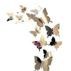 Wall Stickers Decal Butterfly Mirror Wall Sticker DIY Wall Art Stickers Home Decors adesivo de parede Decoration 3d Mirror Wall Stickers, Mirror Wall Art, Removable Wall Stickers, 3d Butterfly Wall Stickers, Wall Stickers Home Decor, Wall Stickers Murals, 3d Wall, Diy Butterfly, Paper Butterflies