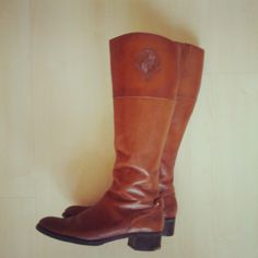 Etienne Aigner Brown Leather Boots with Emblem