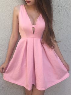 Attractive Plunging Neck Sleeveless Solid Color Zippered Women's Dress #Love_Pink #Pink_Dresses #Summer_Dresses