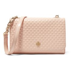 Tory Burch Marion embossed patent-leather mini shoulder bag ($160) ❤ liked on Polyvore featuring bags, handbags, shoulder bags, neutral, patent leather handbags, tory burch, mini shoulder bag, mini handbags and shoulder bag purse
