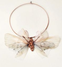 Organza Moth Wings Necklace with Vintage filigree VERY LIMITED