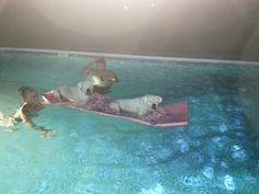 Sassy & Thunder enjoying the first swim in their new pool with the Hayward system. #Haywardpinyourpool