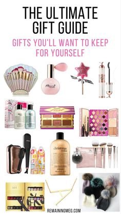 The Ultimate gift guide! Gift ideas for her you'll want to keep for yourself! These gift ideas will wow the beauty babe who loves makeup, accessories, and hair care. You'll find gift ideas at various price points depending on whether you're planning to splurge or you're looking for a steal. Remaining Meg Blog #giftguide #giftideas #christmasgifts