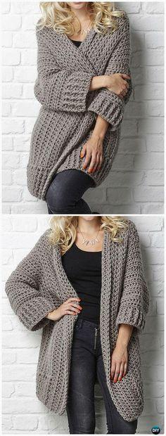 Ganchillo Big Chill chaqueta de punto del patrón - ganchillo mujeres suéter escudo Cardigan Patrones gratis