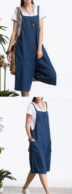 US$18.73 Loose Pure Color Strap Pocket Jumpsuit Trousers Overalls For Women