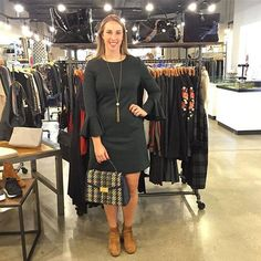 Our very own Lauren is modeling Faye's outfit of the day, featuring a Trina Turk dress, Tory Burch purse, Vince booties, Jenny Bird earrings and Julio Designs necklace! #shopfayes #shoplocal #OOTD
