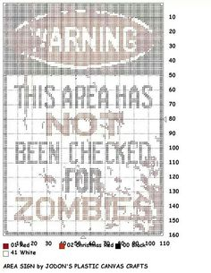 AREA SIGN by JODON'S PLASTIC CANVAS CRAFTS -- WALL HANGING (WARNING: ZOMBIES)