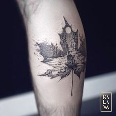 New project in my double exposure series. Thank you Chris for coming from toronto for this important project for you. Maple leaf with landscape in double exposure. Feuille d'érable avec paysage en double exposition. By KALAWA Tattooer - Tattoo dotwork artist from Aix-en-provence (FRANCE)