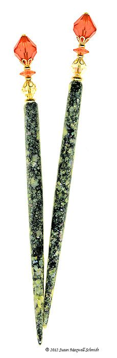 Dawn Comes LongLocks PearliStix Hair Sticks - one-of-a-kind hand crafted rare vintage Swarovski crystal and genuine mother-of-pearl hair jewelry.