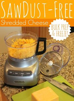 Sawdust-Free Shredded Cheese.  See how I shred and freeze portions of cheese!  by All Things G&D #allthingsgd
