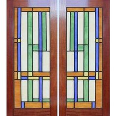 Abstract stained and leaded glass cabinet windows, Frank Lloyd Wright inspired, custom glass design Stained Glass Designs, Stained Glass Panels, Stained Glass Projects, Stained Glass Patterns, Leaded Glass, Stained Glass Art, Mosaic Glass, Fused Glass, New Door Design