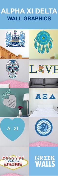 Love the Alpha Xi Delta Wall Graphic Collection!! From Greekwalls.com