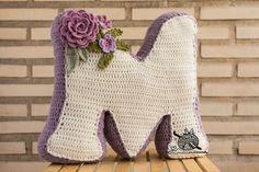 Crochet Alphabet, Crochet Letters, Crochet Symbols, Crochet Cushion Cover, Crochet Cushions, Crochet Pillow, Crochet Home, Crochet For Kids, Crochet Baby