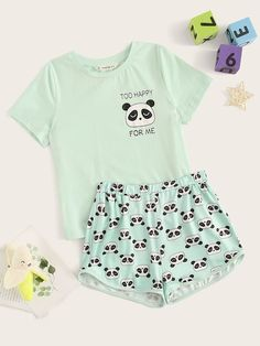 To find out about the Girls Panda Print Top & Shorts PJ Set at SHEIN, part of our latest Girls Loungewear ready to shop online today! Cute Lazy Outfits, Teenage Outfits, Kids Outfits Girls, Girls Fashion Clothes, Teen Fashion Outfits, Mode Outfits, Stylish Outfits, Tween Fashion, Gothic Fashion