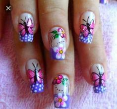 Ladies' nails have always been an important dimension of beauty and fashion. You can also have so many choice for your nail designs. Star nail art, Hello Kitty nail art, zebra nail art, feather nail designs are a few examples among the various themes. Simple Nail Art Designs, Nail Designs Spring, Easy Nail Art, Beautiful Nail Art, Gorgeous Nails, Pretty Nails, Butterfly Nail Art, Nail Photos, Holiday Nail Art