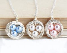 Silvertone Bird Nest Pendant Necklace With Pearl Eggs on Sterling Silver Chain Diy Gifts For Mom, Gifts For New Moms, Gifts For Wife, Gifts For Her, Stocking Stuffers For Women, Hobbies For Women, Wire Wrapped Necklace, Pearl Necklaces, Pendant Necklace