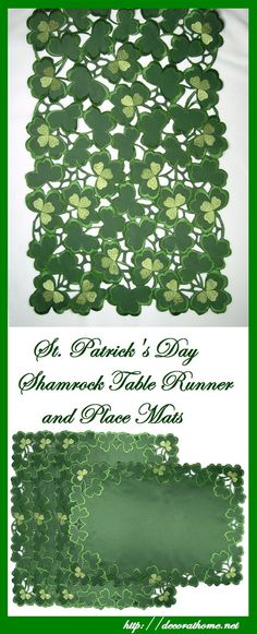 St. Patrick's Day Shamrock Table Runner and Place Mats   Decor at Home