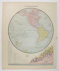 1888 Western Hemisphere Map, Antique World Map, Vintage Map World Globe, Map Art Gift for Traveler, Old Color Map of World, Old World Décor available from OldMapsandPrints.Etsy.com #WesternHemisphereMap #OriginalVintageMapofWorld #WorldMap #1881WorldGlobeMap