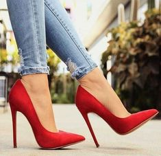 Boots are truly stylish and there is broad choice from flat-heels to stilettos, wedges, and platforms, boots are whatever in between. High Heels Boots, Red High Heels, Womens High Heels, High Shoes, Red Prom Heels, Ankle Boots, Red High Heel Boots, Cool High Heels, Red Bottom Heels