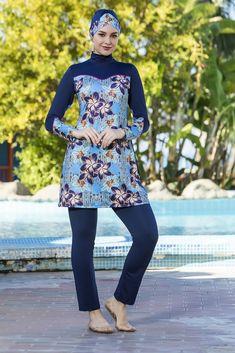 Printed hijab swimwear practical for swimming with high quality materials. Islamic Swimwear, High Neck Dress, Swimsuits, Elegant, Stylish, Lady, Blue, Dresses, Women