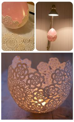 Doily candle holder - a great idea for wedding decor!