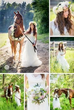 wedding horse with flower wreath and boho bride with flower crown | Tracey Buyce Photography