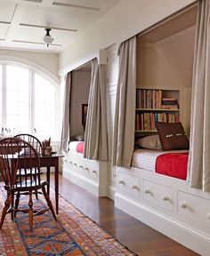 This child's room encourages quiet reading after a day of fly-fishing with the family, and easily doubles as a guest room when company visits - Traditional Home® Photo: Jonny Valiant and Joseph St. Pierre Design: Nancy Gould