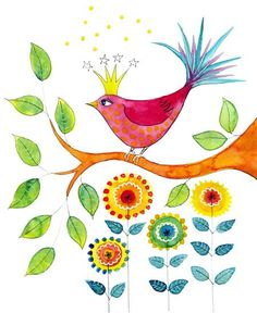 Crowned Bird Art print from my watercolour by jessicastride, $15.00