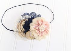 Blushing Over Blue  - headband in blush, navy blue, gold and cream (RTS) by SoTweetDesigns on Etsy
