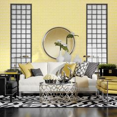 Lemon Zinger Living Room -- mirrors behind sofa -- bring in the light from windows