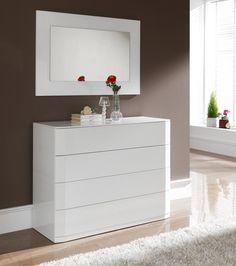 Sandra, Modern Medium Size Chest of Drawers in White High Gloss, Opt. Mirror