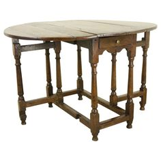 Period Welsh Oak Drop Leaf or Gateleg Table | From a unique collection of antique and modern drop-leaf and pembroke tables at https://www.1stdibs.com/furniture/tables/drop-leaf-tables-pembroke-tables/