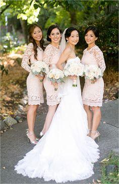 Peach lace bridesmaid dresses @weddingchicks