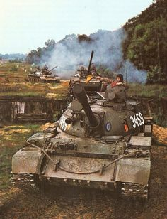 East German T-55 tanks on a military exercise.