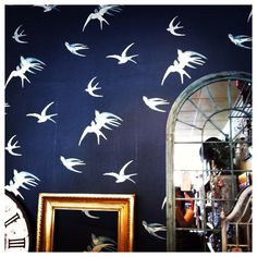 Beautiful wallpaper (Sanderson's 'Vintage Swallows') in a lovely gift shop (Nest at no. 9, Olney)