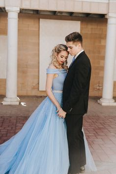 Sherri Hill Light Blue 2 Piece ballgown with pearl detailing and beaded belt couple goals Ypsilon Dresses Prom Pageant Evening Gown High School Dance Dresses Homecoming Sweethearts Special Occasion Utah Prom Dresses Unique Modest Prom Dress Selection - - Prom Pictures Couples, Homecoming Pictures, Prom Couples, Prom Photos, Teen Couples, Prom Pics, Unique Prom Dresses, Black Prom Dresses, Chiffon Dresses