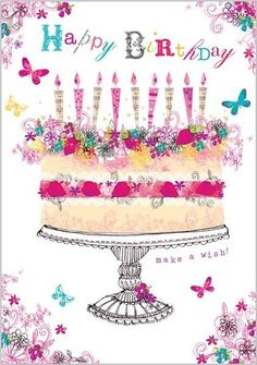 Happy Birthday Greeting Cards - Birthday Cards -  Geburtstagskarte E-Karte Whatsapp Facebook Gruß Geburtstag Kuchen Happy Birthday
