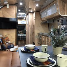 Interior view of the 2016 Special Edition #Pendleton #Airstream to celebrate the 100th Anniversary of National Park Service with embossed ultraleather, rustic hickory laminate, and exclusive Pendleton Accessory Kit.