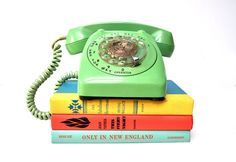 Vintage Mint Green Rotary Telephone by thewhitepepper on Etsy https://www.etsy.com/listing/222747985/vintage-mint-green-rotary-telephone